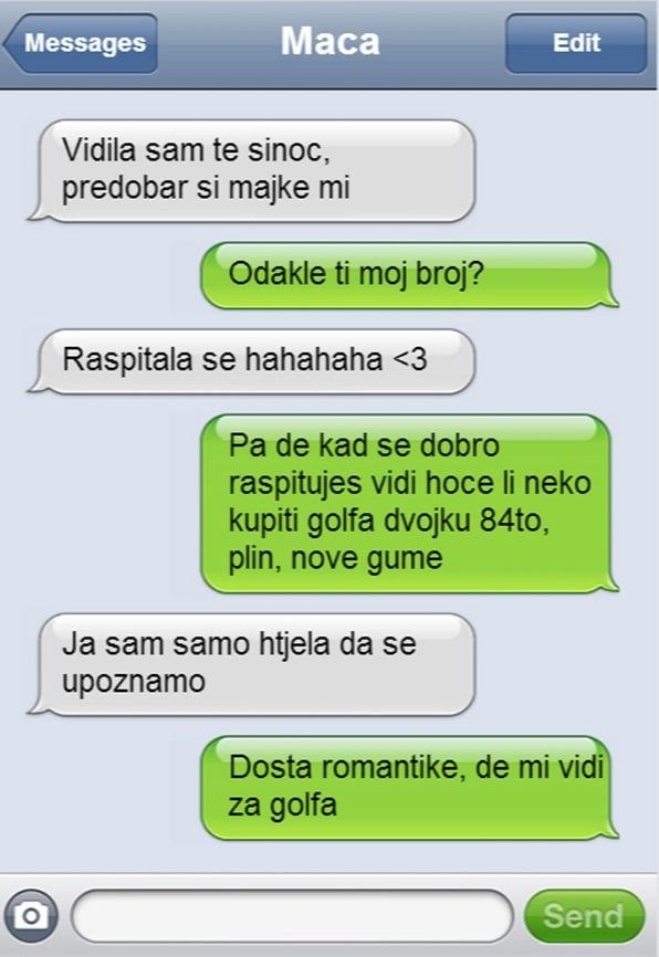 Smiješne tekstualne poruke za izlaske